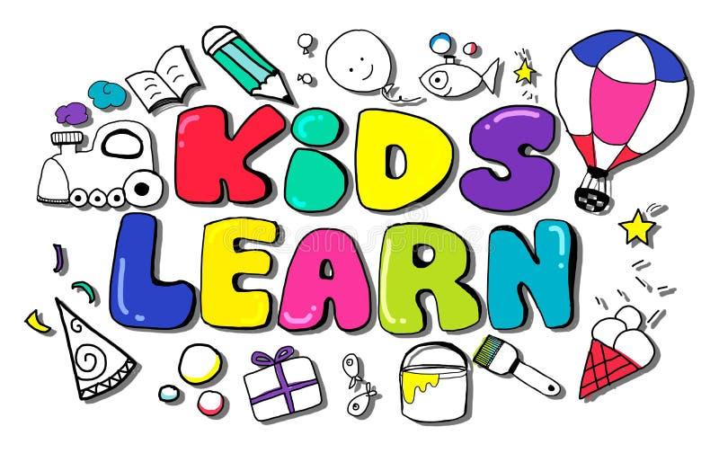 Ungar lär begrepp för idéer för utbildningskreativitetbarn royaltyfri illustrationer