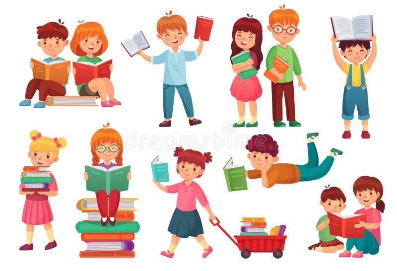 ungar läste boken Lyckliga ungeläseböcker, flicka och pojke som tillsammans lär och unga studenter isolerad tecknad filmvektor stock illustrationer