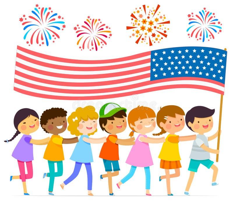 Ungar med amerikanska flaggan royaltyfri illustrationer