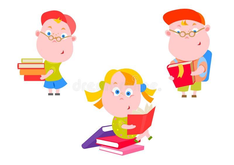 Ungar med böcker royaltyfri illustrationer