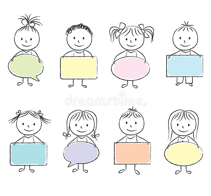Ungar med baner royaltyfri illustrationer