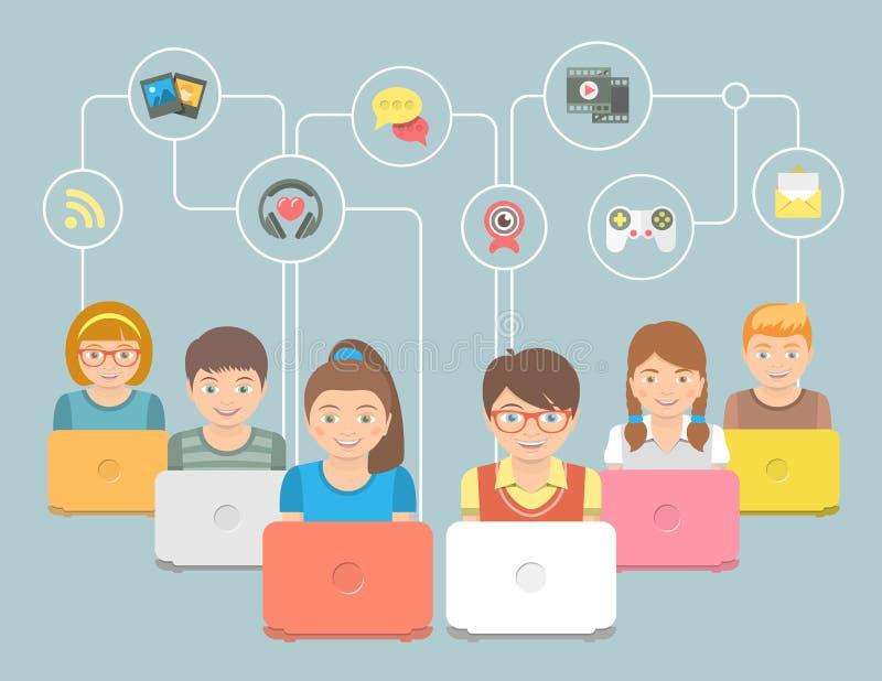 Ungar med datorer och den begreppsmässiga plana illustrationen för samkvämmassmediasymboler royaltyfri illustrationer