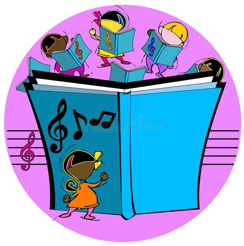 Ungar med den musikaliska boken royaltyfri illustrationer