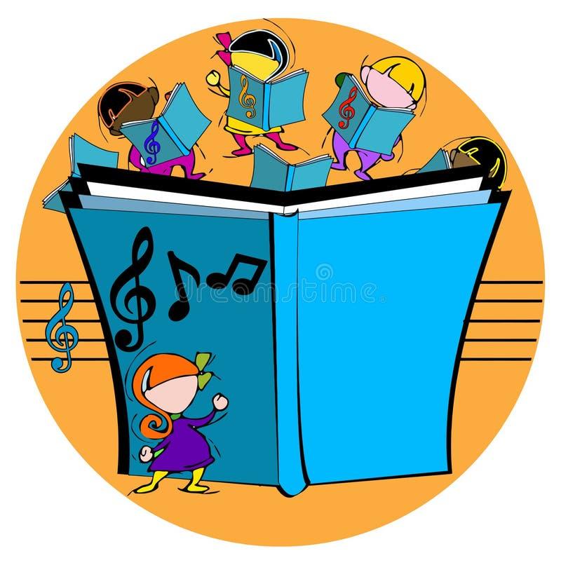 Ungar med den musikaliska boken stock illustrationer