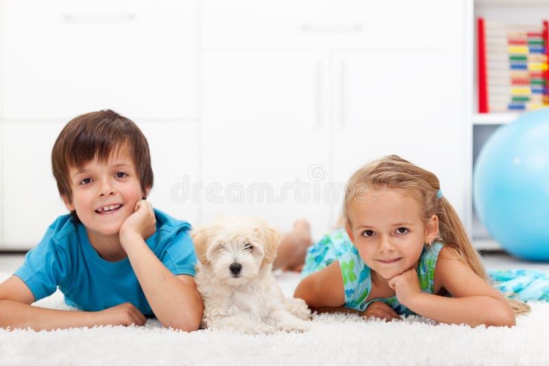 Ungar med deras husdjur arkivbild