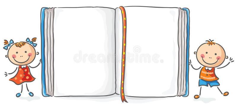 Ungar med en stor bok royaltyfri illustrationer