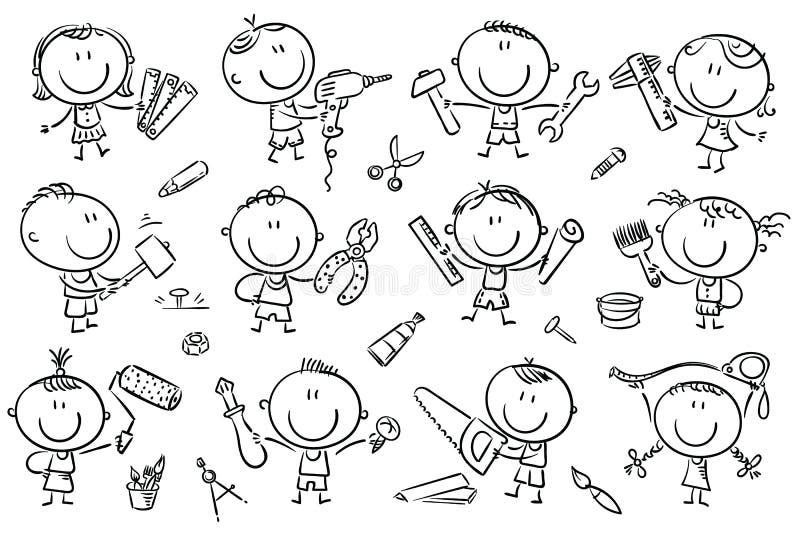 Ungar med hjälpmedel royaltyfri illustrationer