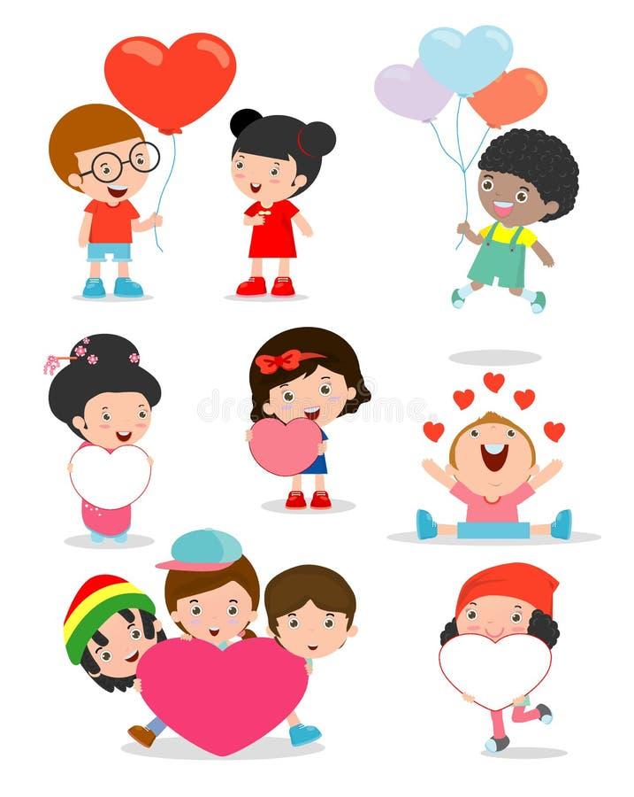 Ungar med hjärta på vit bakgrund, lycklig dag för valentin` s, gulligt pinnediagram för valentin` s för barn hållande hjärtor för vektor illustrationer