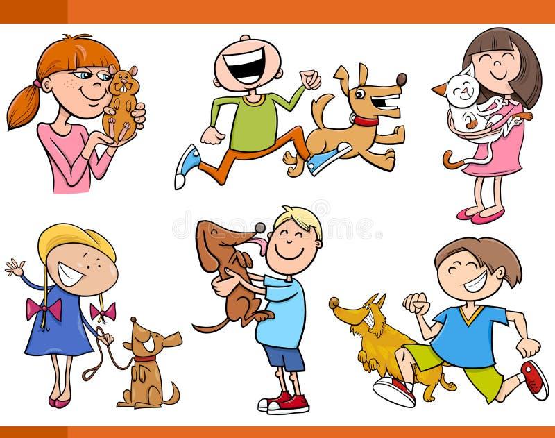 Ungar med husdjurtecknad filmuppsättningen vektor illustrationer
