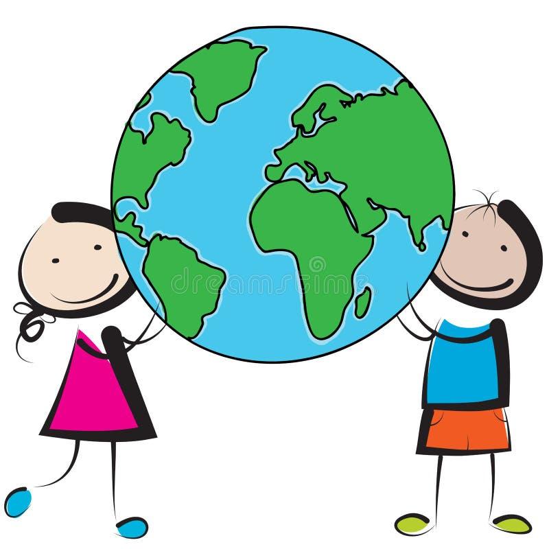 Ungar med jordklotet vektor illustrationer