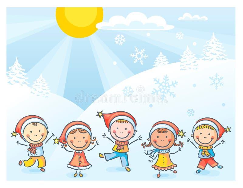 Ungar med julhattar vektor illustrationer