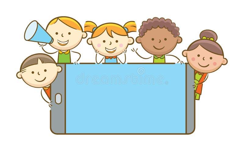 Ungar med mobiltelefonen stock illustrationer