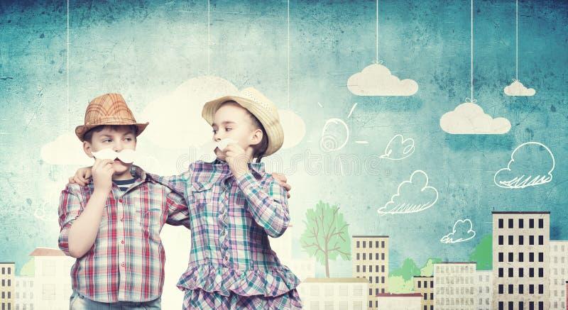Ungar med mustaschen stock illustrationer
