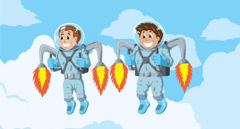 Ungar med raketpackar royaltyfri illustrationer