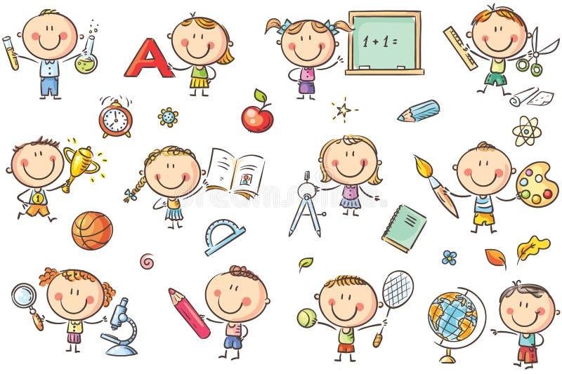 Ungar med skolasaker stock illustrationer