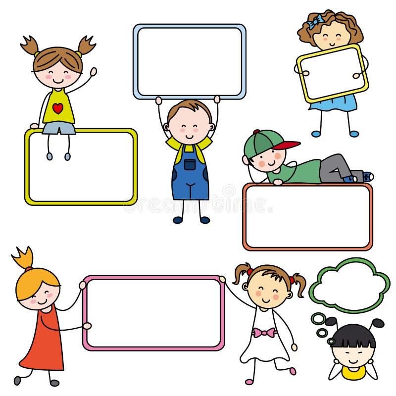 Ungar med tomt tecken stock illustrationer