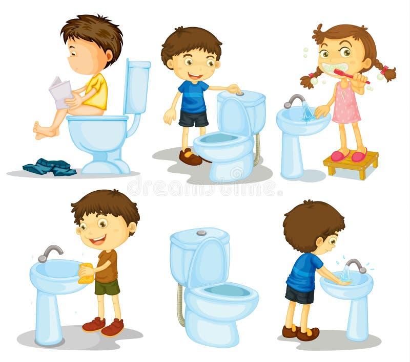 Ungar och badrumtillbehör vektor illustrationer