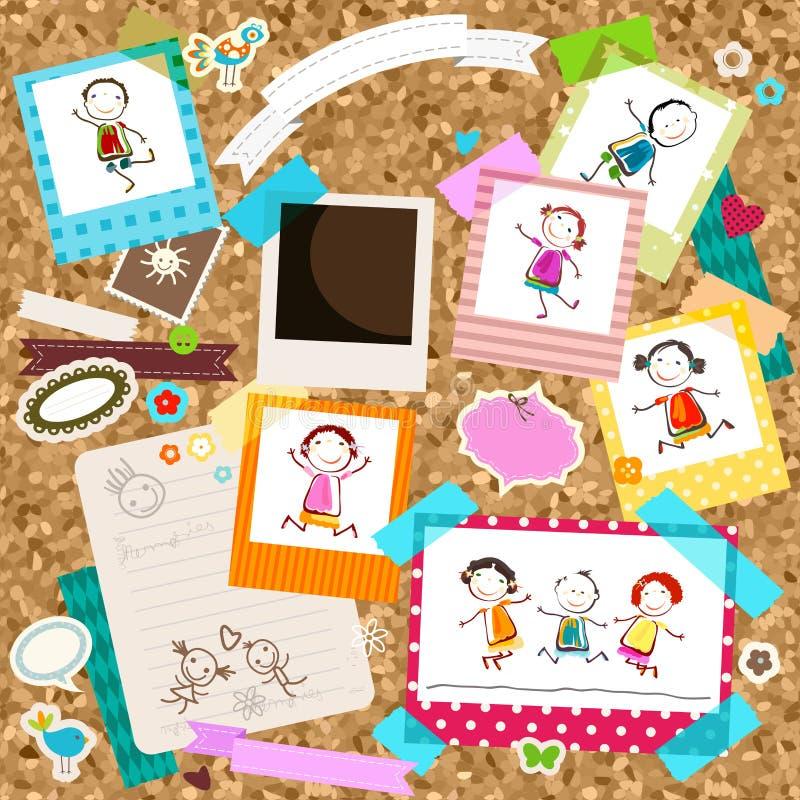 Ungar och fotoramar royaltyfri illustrationer