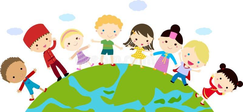 Ungar och jordklot vektor illustrationer