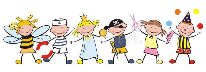 Ungar och karneval stock illustrationer