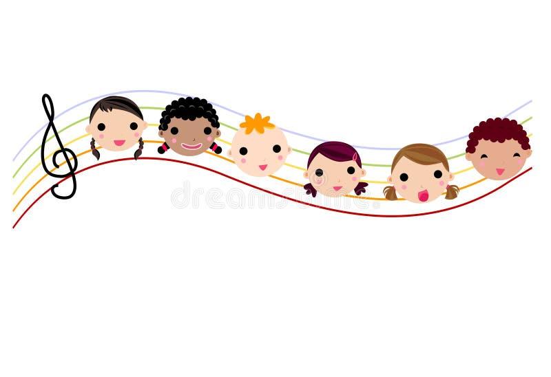 Ungar och musik stock illustrationer