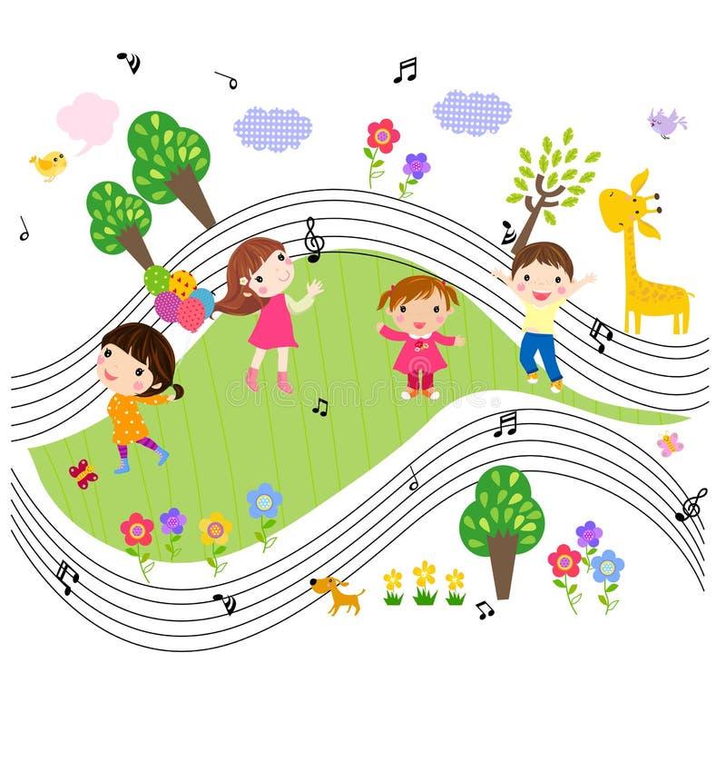 Ungar och musik royaltyfri illustrationer