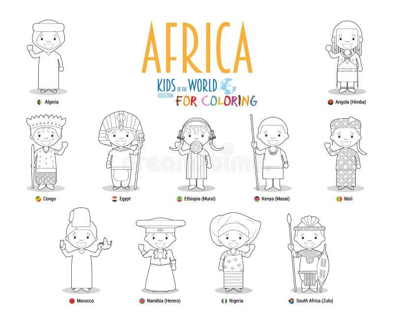 Ungar och nationaliteter av v?rldsvektorn: Afrika Ställ in av 11 tecken för att färga iklädda olika nationella dräkter royaltyfri illustrationer