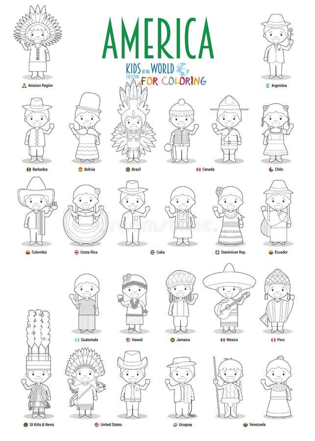 Ungar och nationaliteter av v?rldsvektorn: Amerika Ställ in av 25 tecken för att färga iklädda olika nationella dräkter vektor illustrationer