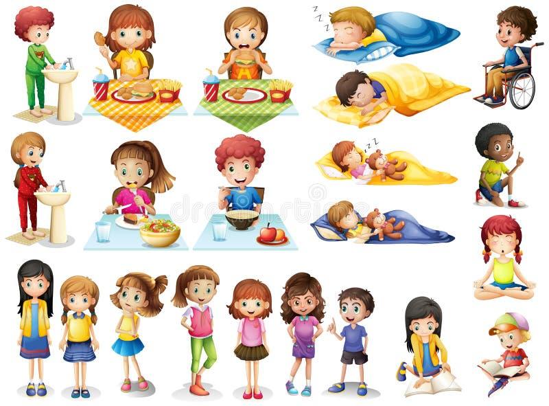 Ungar och olika rutiner royaltyfri illustrationer