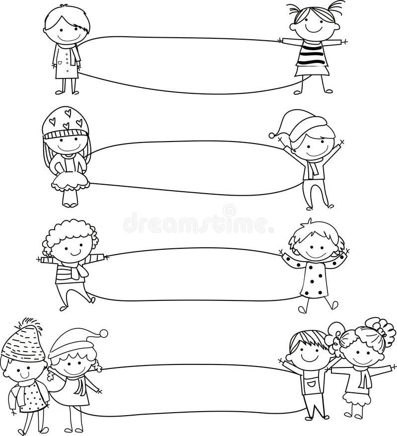 Ungar och ram royaltyfri illustrationer