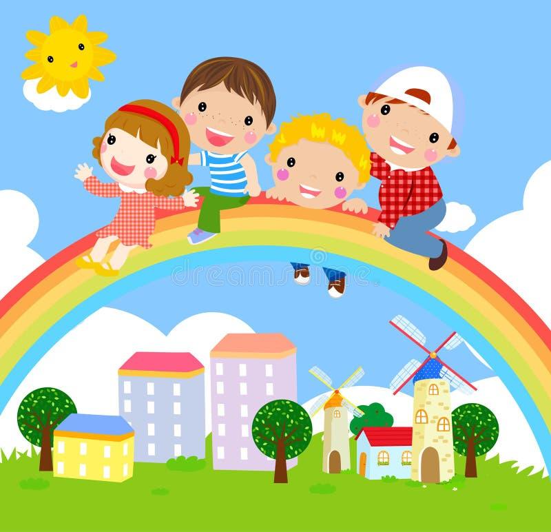 Ungar och regnbåge vektor illustrationer