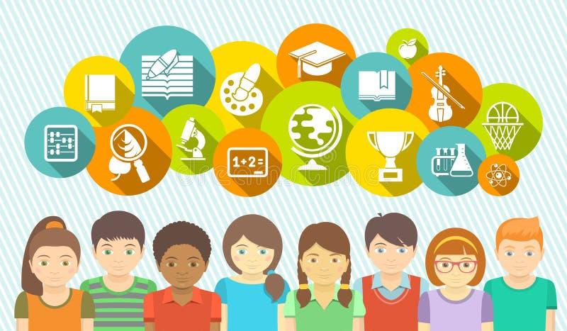 Ungar och skola royaltyfri illustrationer