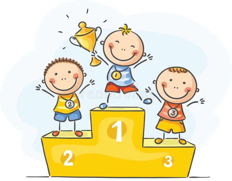 Ungar och sport - små mästare stock illustrationer