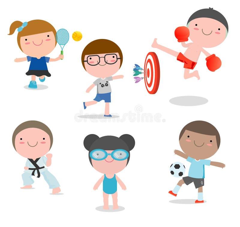 Ungar och sport, ungar som spelar olika sportar på vit bakgrund, simning, boxning, fotboll, tennis, karate, pilar, vektor vektor illustrationer