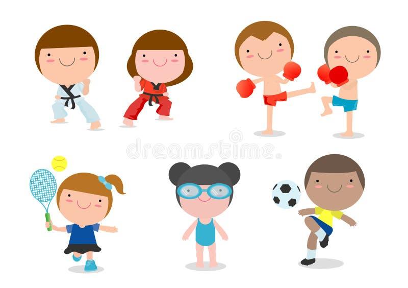 Ungar och sport, ungar som spelar olika sportar på vit bakgrund, tecknad filmungesportar royaltyfri illustrationer