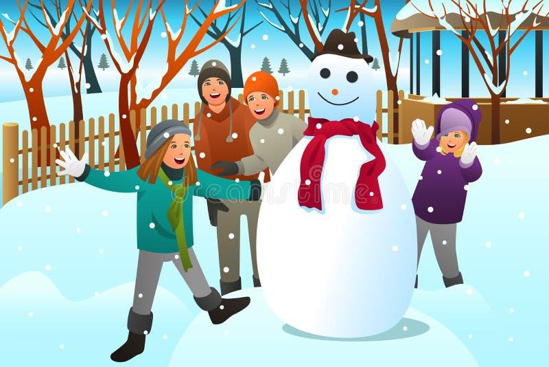 Ungar och tonåringvänner som bygger en snögubbe royaltyfri illustrationer