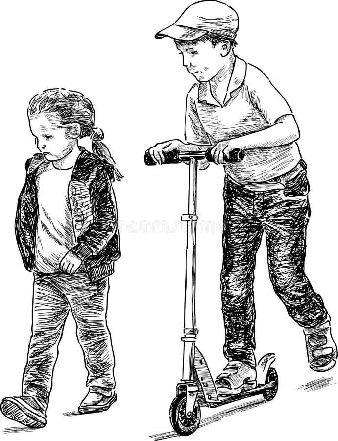 Ungar på en gå royaltyfri illustrationer