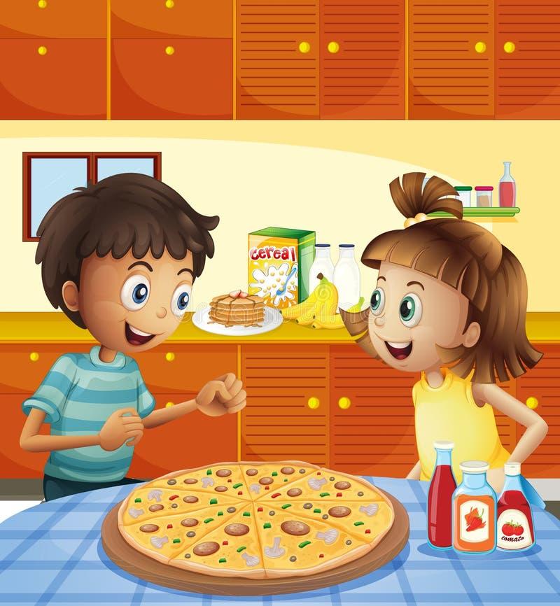 Ungar på köket med en hel pizza på tabellen royaltyfri illustrationer