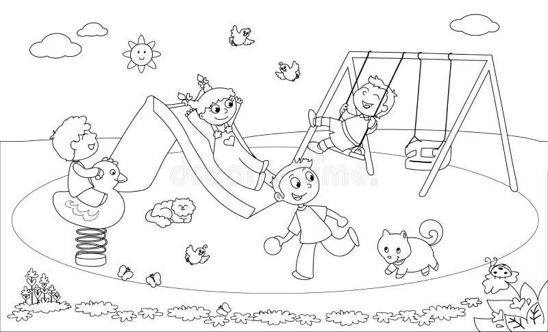 Ungar på lekplatsfärgläggningvektorn stock illustrationer
