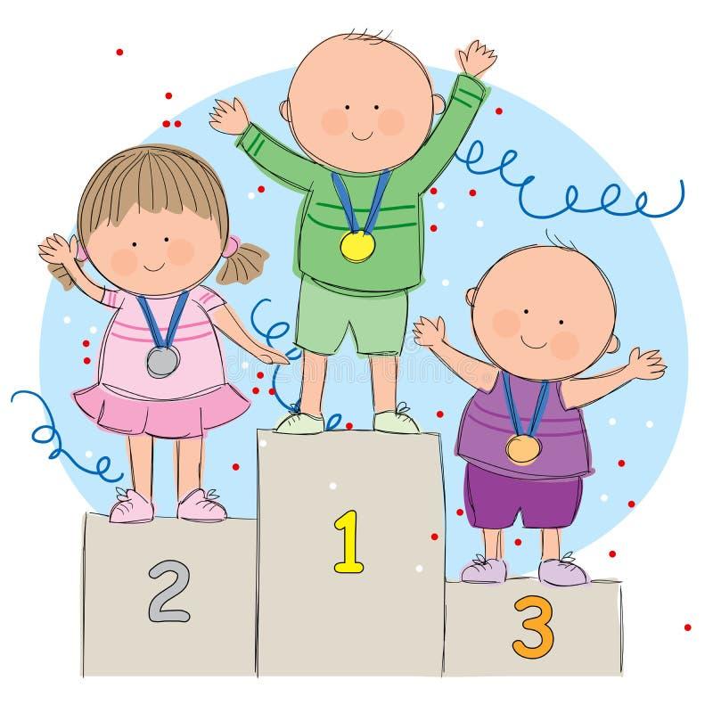 Ungar på podium royaltyfri illustrationer