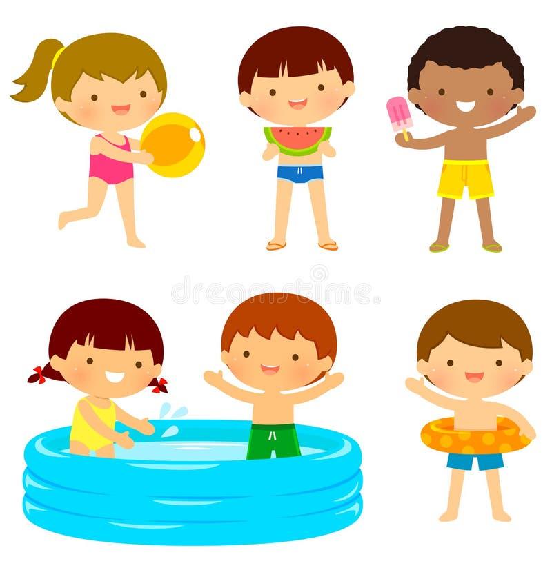 Ungar på stranden eller på pölen stock illustrationer