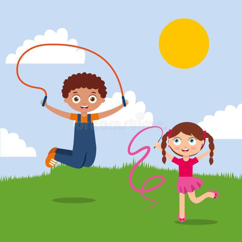 Ungar pojke och flicka som spelar i den lyckliga parkera vektor illustrationer