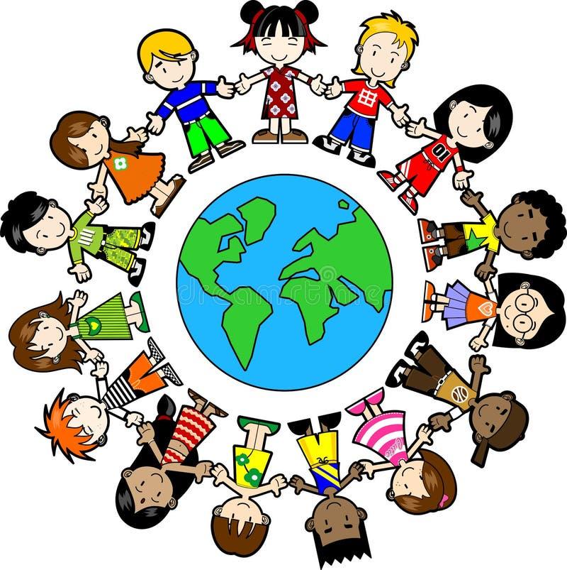 Ungar runt om världen stock illustrationer