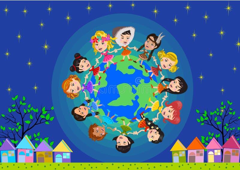 Ungar runt om världen royaltyfri illustrationer