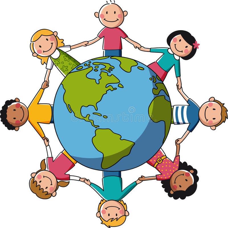 Ungar runt om världen - Europa & Afrika vektor illustrationer
