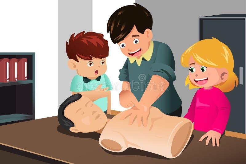 Ungar som öva CPR stock illustrationer