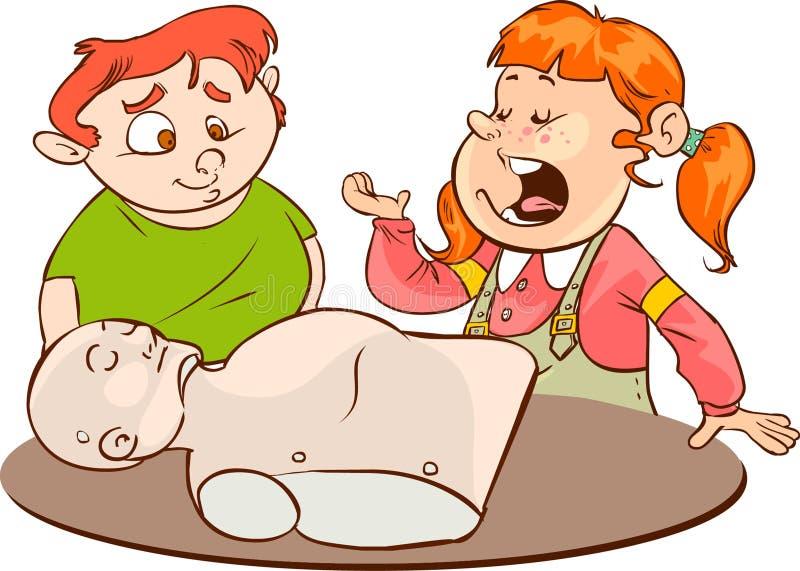 Ungar som öva CPR royaltyfri illustrationer