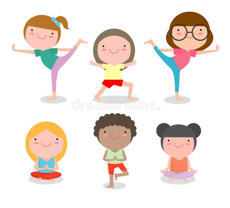 Ungar som öva yoga, lyckliga tecknad filmbarn som öva yoga, barnyoga, övar Sund livsstil stock illustrationer
