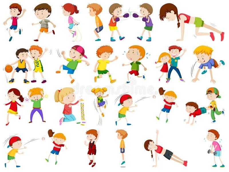 Ungar som övar och är aktiva i uppsättning stock illustrationer