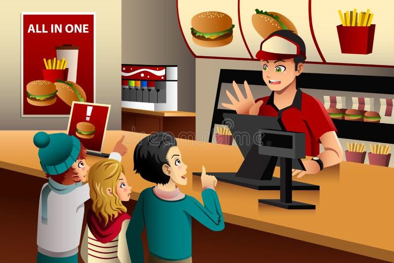 Ungar som beställer mat på en restaurang stock illustrationer